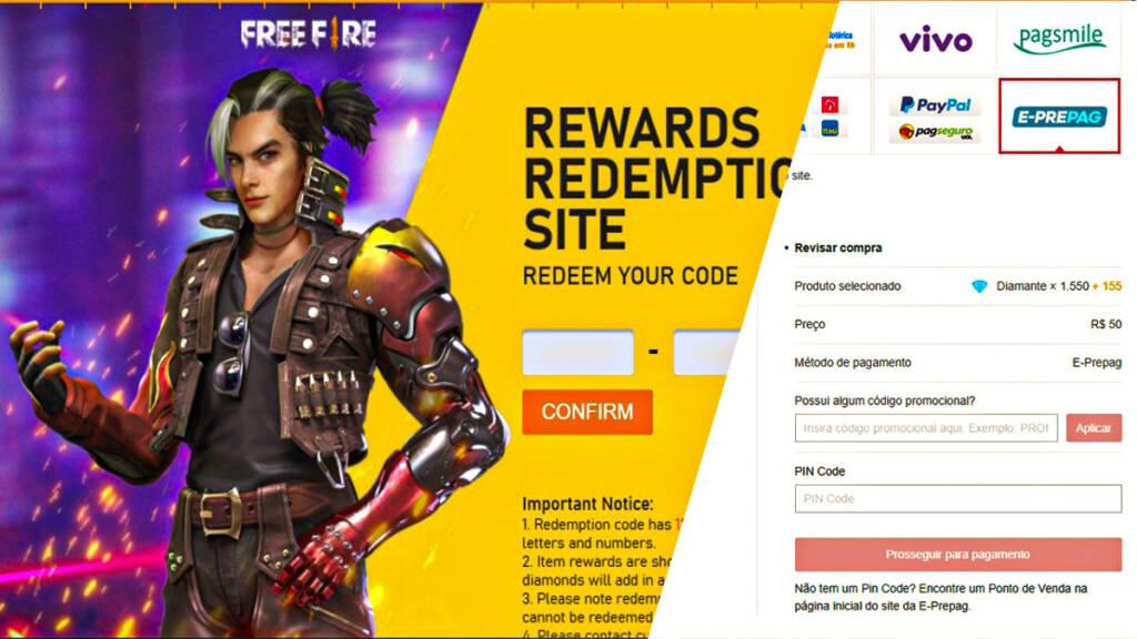 Códigos de Diamantes no Free Fire, Recarga Jogo e Reward FF