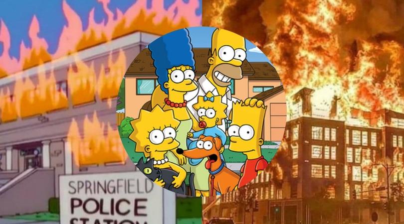 Estação de polícia de Springfield pegando fogo